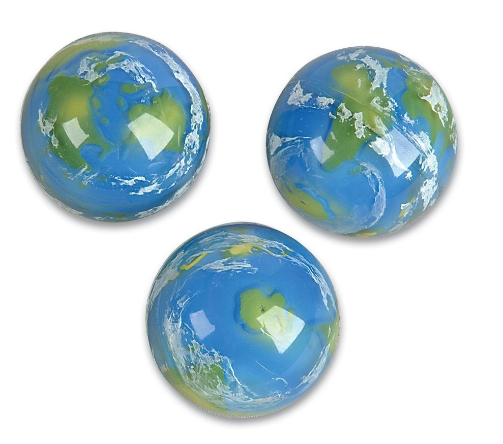 49mm 3-D Earth CAse of 288 Super Bouncy Balls BULK