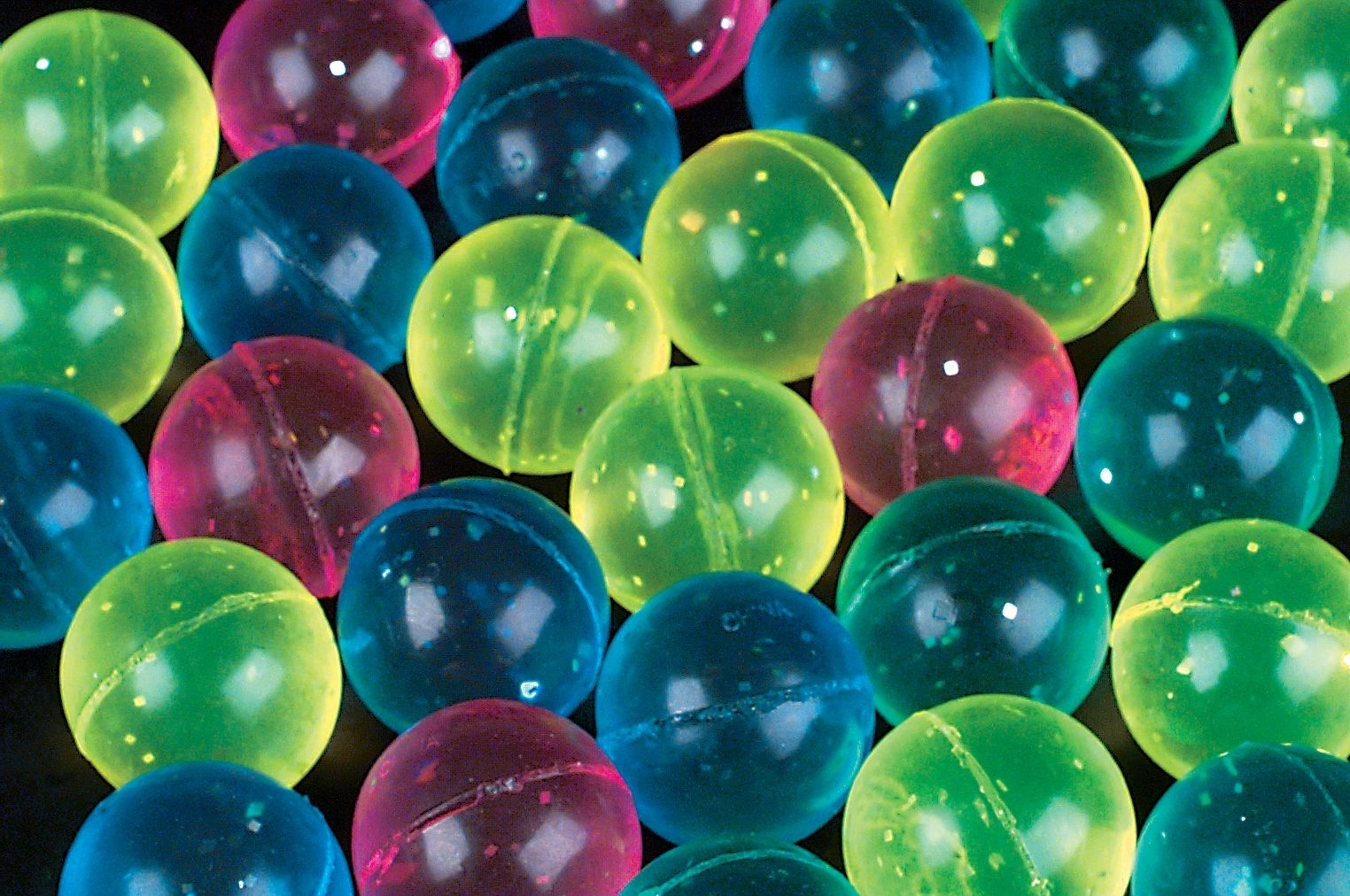 60mm Case of 144 Glitter Super Bouncy Balls BULK