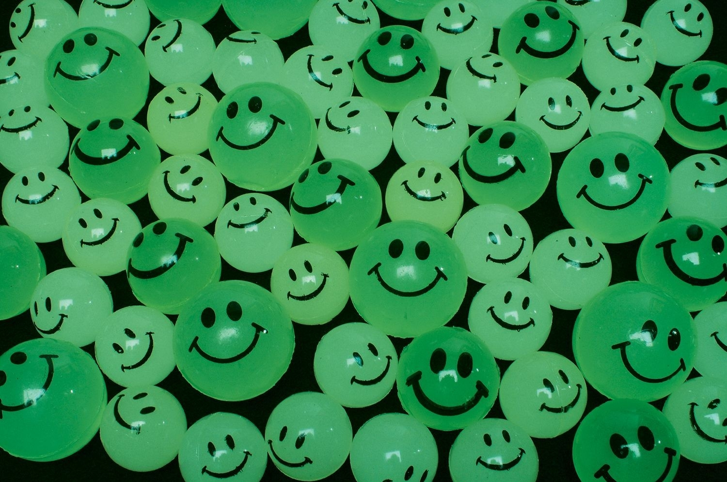 27mm Case of 1728 Glow in the Dark Smile Super Bouncy Ball BULK