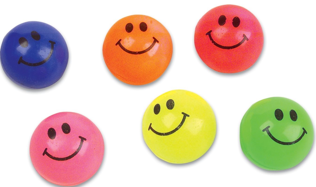 45mm Solid Colored Smile Face Super Bouncy Ball